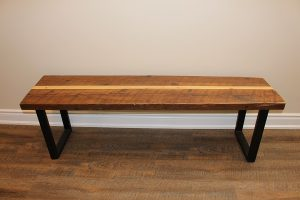Two tone bench with metal legs $220