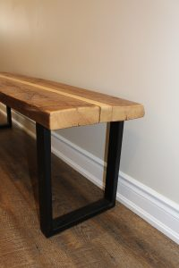 Two tone bench with metal legs $320