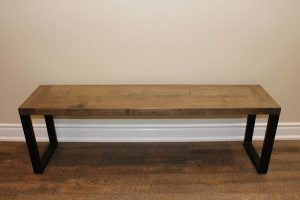 Ash bench with metal legs $260