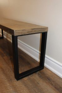 Ash bench with metal legs $350
